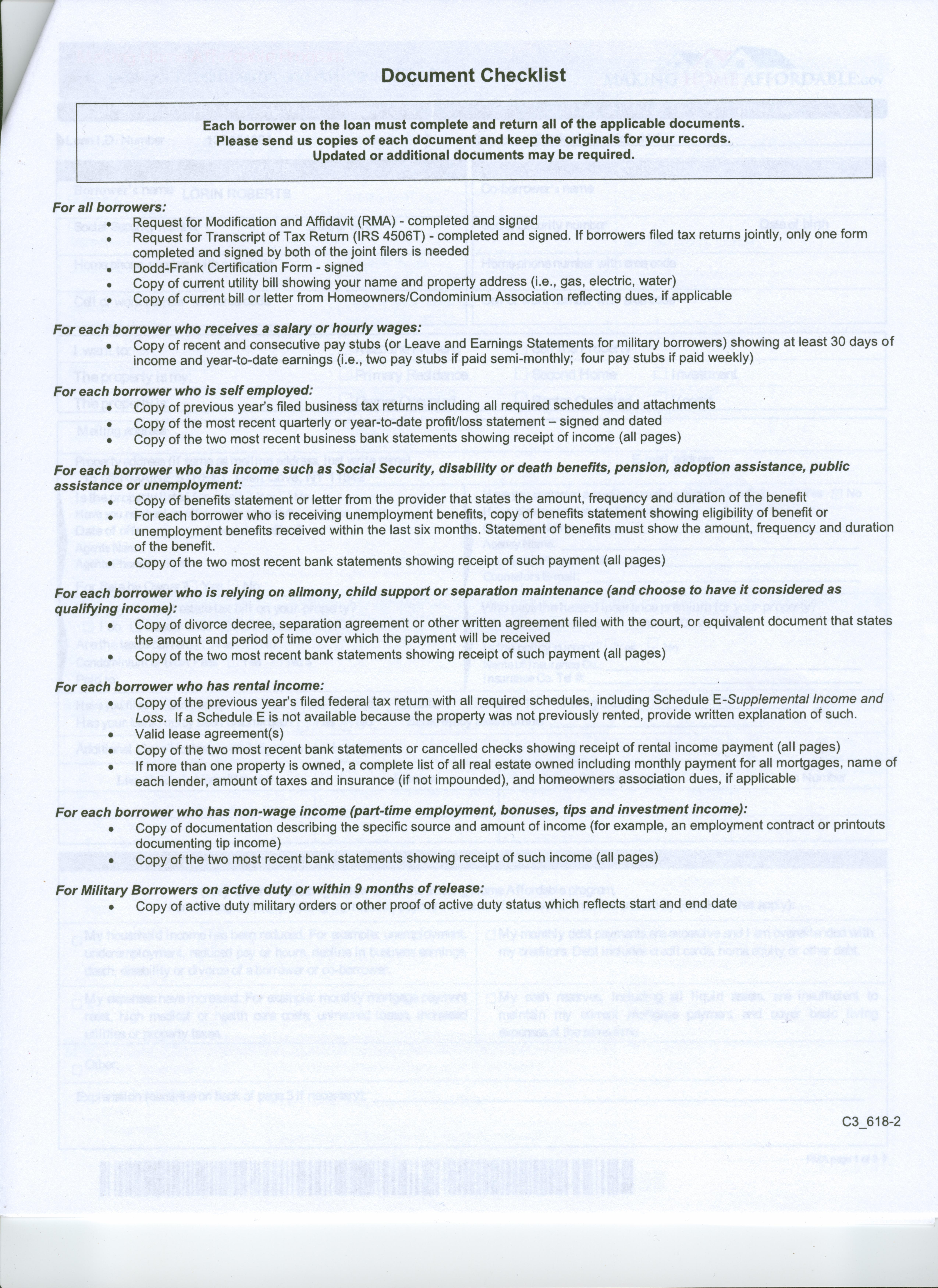 BOA Checklist Document